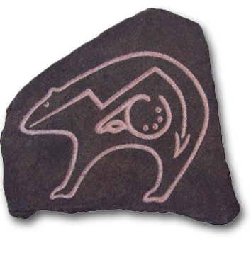 (a) Ritual Bear Hand Carved Sandstone Small