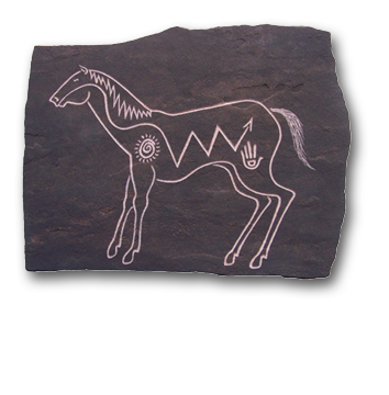 (a) Ritual Horse Hand Carved Sandstone Small